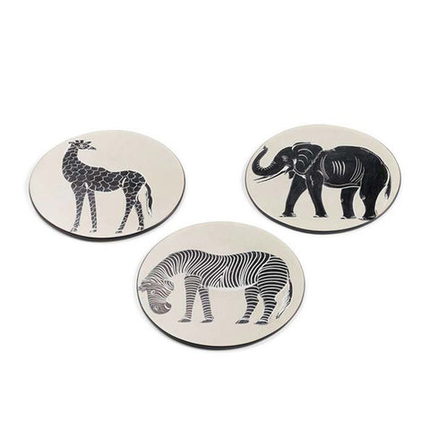 Hand Carved Soapstone Tinga Tinga Trivet set of 3