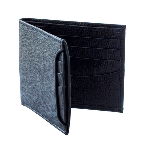 Tooled Black Leather Wallet with Removable Card Case