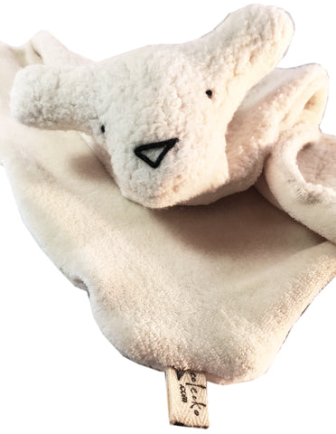 Organic Cotton Sherpa and Velour Security Blanket with Teddy Bear Friend - Handcrafted in the USA!