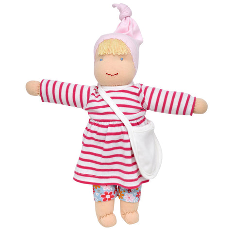 "Handcrafted 13"" Organic Waldorf Style Dress Up Doll w/2 Sets of Clothes:Blond"