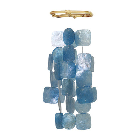 Capiz Shell Wind Chime - Small Blue