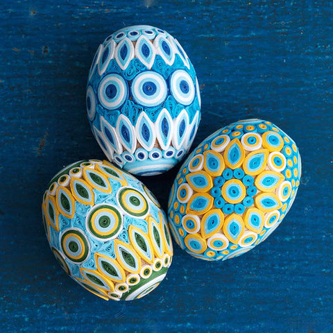Quilled Easter Eggs - Blue/Yellow