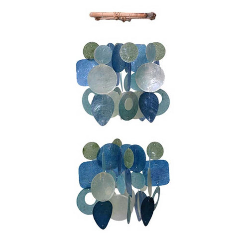 Capiz Shell Chime - Small Chandelier Green & Blue