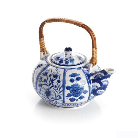 Handcrafted Blue Meadow Ceramic Tea Pot