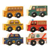 Wooden Vehicle Boxed Community Set of 6 for Toddlers - USA