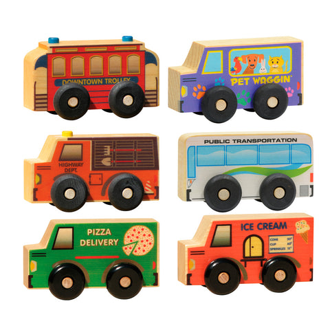Wooden Vehicle Boxed Service Set of 6 for Toddlers – USA
