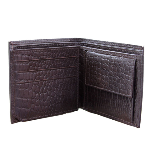 Brown Leather Multi-Pocket Wallet: Faux Crocodile