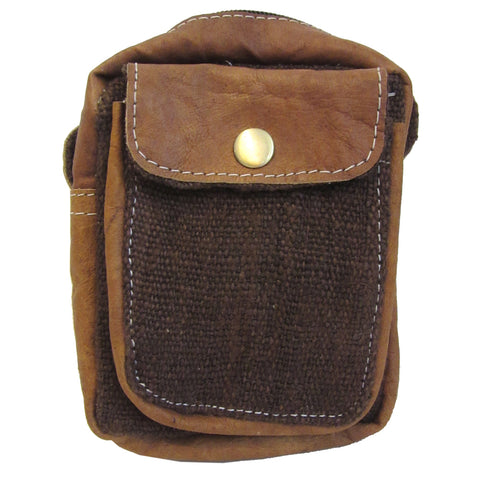 Small Hemp Leather Camera Bag 5x7 Brown