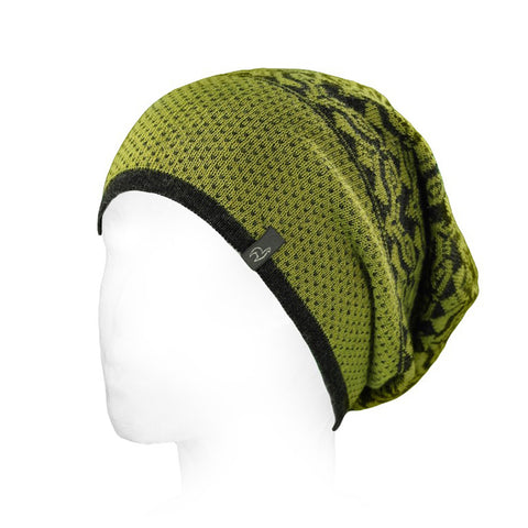 Slouchy Alpaca Hat with Graphic Design Citron
