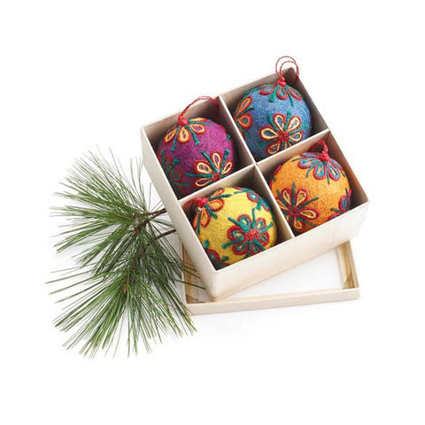Colorful Jute Ornament Set of 4