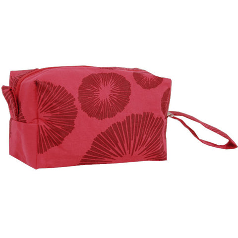 Lined Cosmetic Case Red Flowers