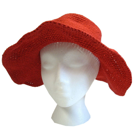 Cotton Wide Brim Sun Hat Red