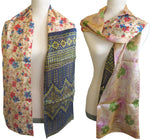 Double Sided Silk Scarf - 3 Floral Pastel Navy Green
