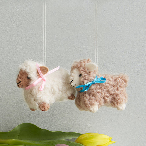 Woolly Lamb Ornaments Set of 2