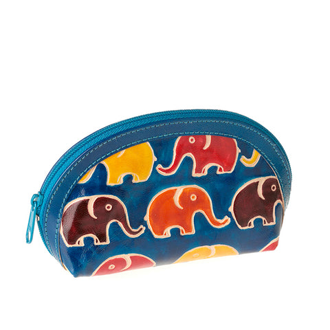 Dyed Leather Elephant Coin Purse