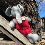 Heirloom Quality Natural Wool Stuffed Elephant
