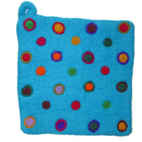 Felt Potholders with Colorful Dot Design Turquoise