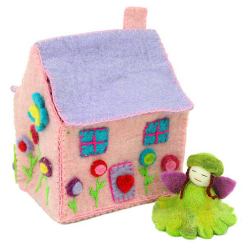 Hand Felted Tiny Fairy Dream House with Flower Fairy
