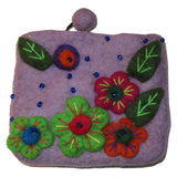 Flower Embroidered Felt Coin Purse Lilac