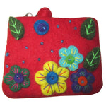 Flower Embroidered Felt Coin Purse Red