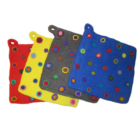 Felt Potholders with Colorful Dot Design