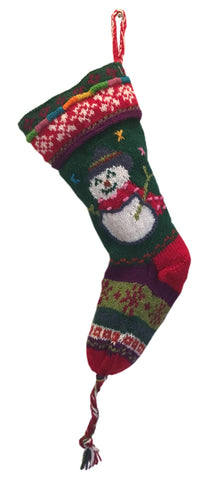 Keepsake Quality Handknit Wool Christmas Stockings Snowman