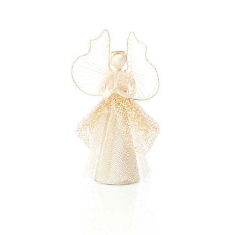 Pretty Abaca Angel with Golden Skirt, Decoration or Tree Topper