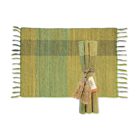 Vetiver Placemat Set of 6 - Green Plaid