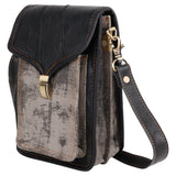 "Unisex Black Leather and Canvas Cross Body ""Harley"" Bag"