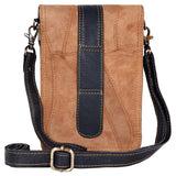 "Unisex Black Leather and Tan Suede Cross Body ""Harley"" Bag"