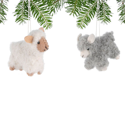 Adorable Woolly Sheep Ornament - Natural or Grey