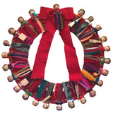 Large Festive Mayan Doll Wreath with Bow 12""
