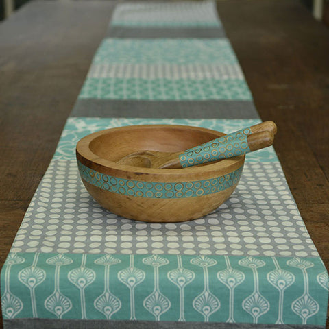 Long Table Runner – Turquoise and Grey: Fair Trade