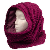 Thick Fleece Lined Mobius Scarf/Hoodie Berry