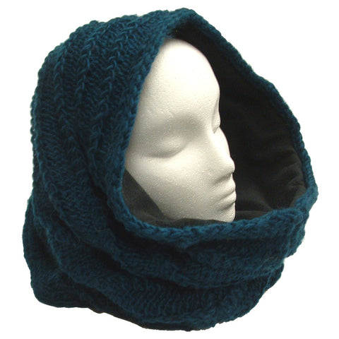 Thick Fleece Lined Mobius Scarf/Hoodie Dark Teal