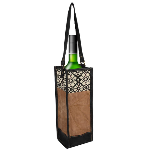Upcycled Leather and Graphic Print Wine Tote