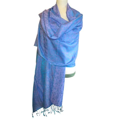 Luxurious Shawl with Design - Blue w/Lavender