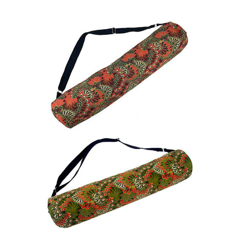 Sturdy Cotton Peacock Yoga Mat Bag