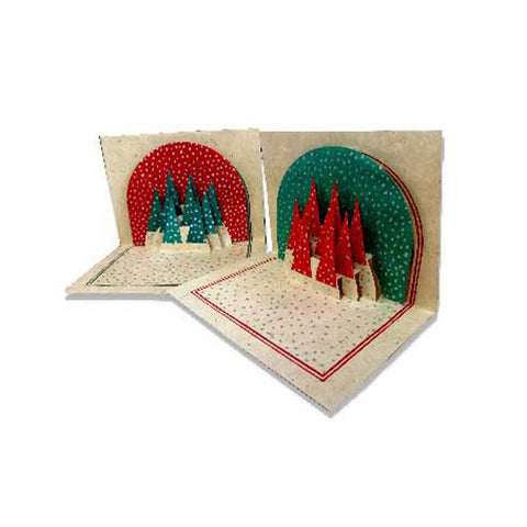 Handcrafted Pop Up Christmas Tree Card Set of 6