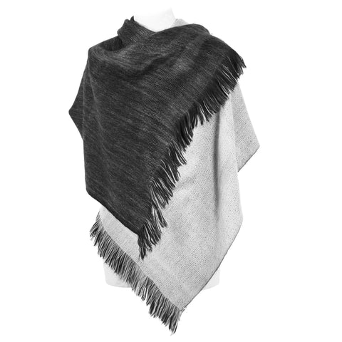 Hand-loomed Alpaca Wrap or Cape - Grey Black