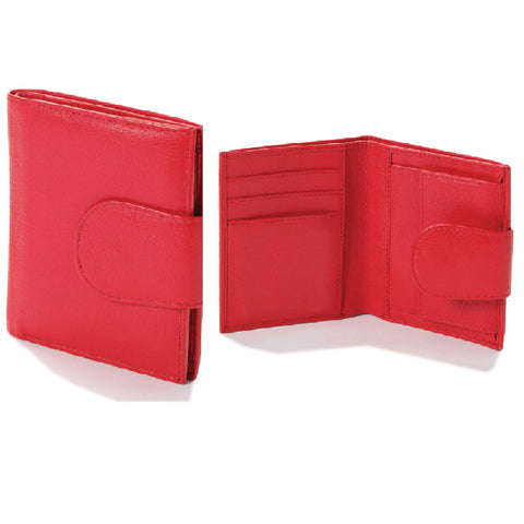 Pocket Size Poppy Red Leather Wallet