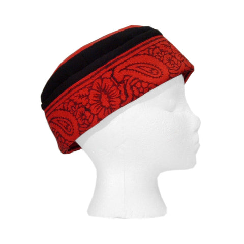 Reversible Blockprint Skull Cap Red