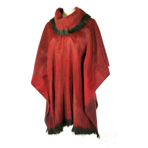 Luxurious Hand-loomed Alpaca Pullover Shawl or Cape Ruby