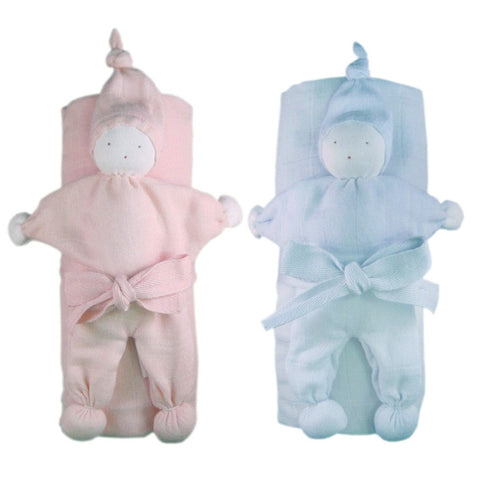 Soft Organic Cotton Swaddle Blanket and Teething Toy Gift Set