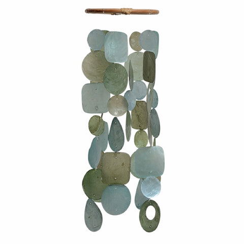 Capiz Shell Wind Chime - Small Teal/Aqua Yellow