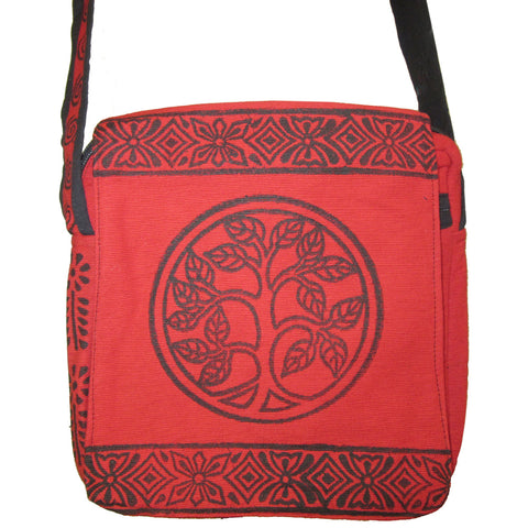 Tree of Life Block Print Bag Red