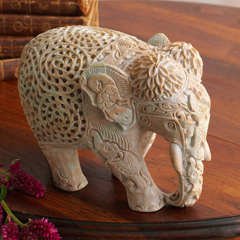 Beautifully Handcrafted Triple Carved Elephant