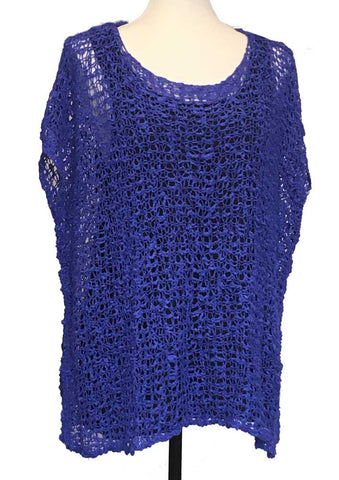 Chanel Style Cap Sleeved Popcorn Knit Top Cobalt Blue