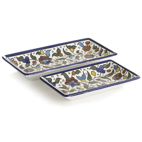 Hand Painted Floral Design Set of 2 Appetizer Trays
