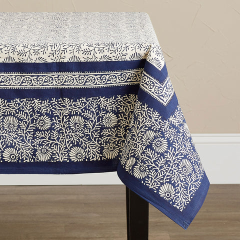Fair Trade Table Cloth - Navy Wildflower